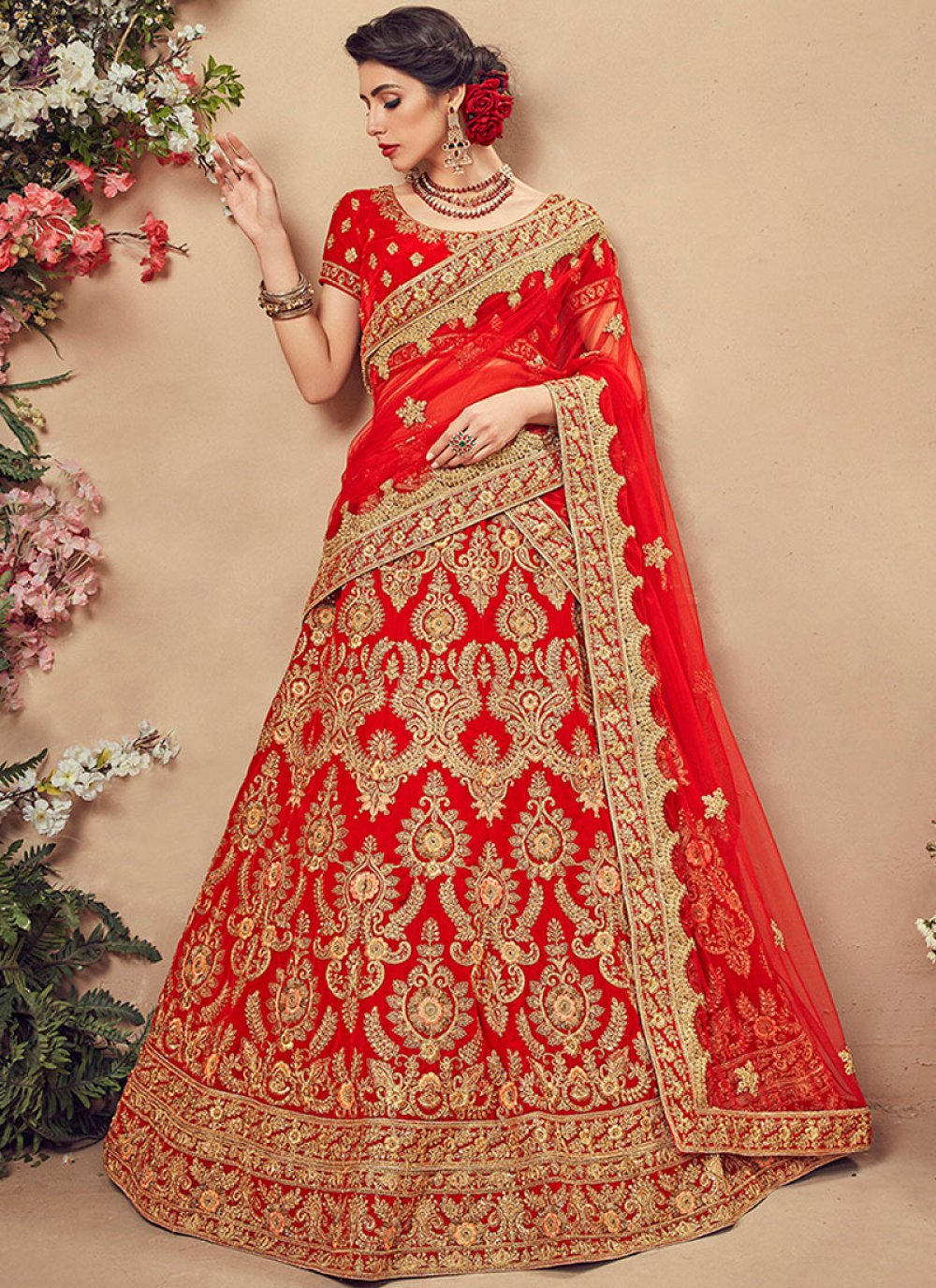 Velvet Designer Lehenga Choli in Red
