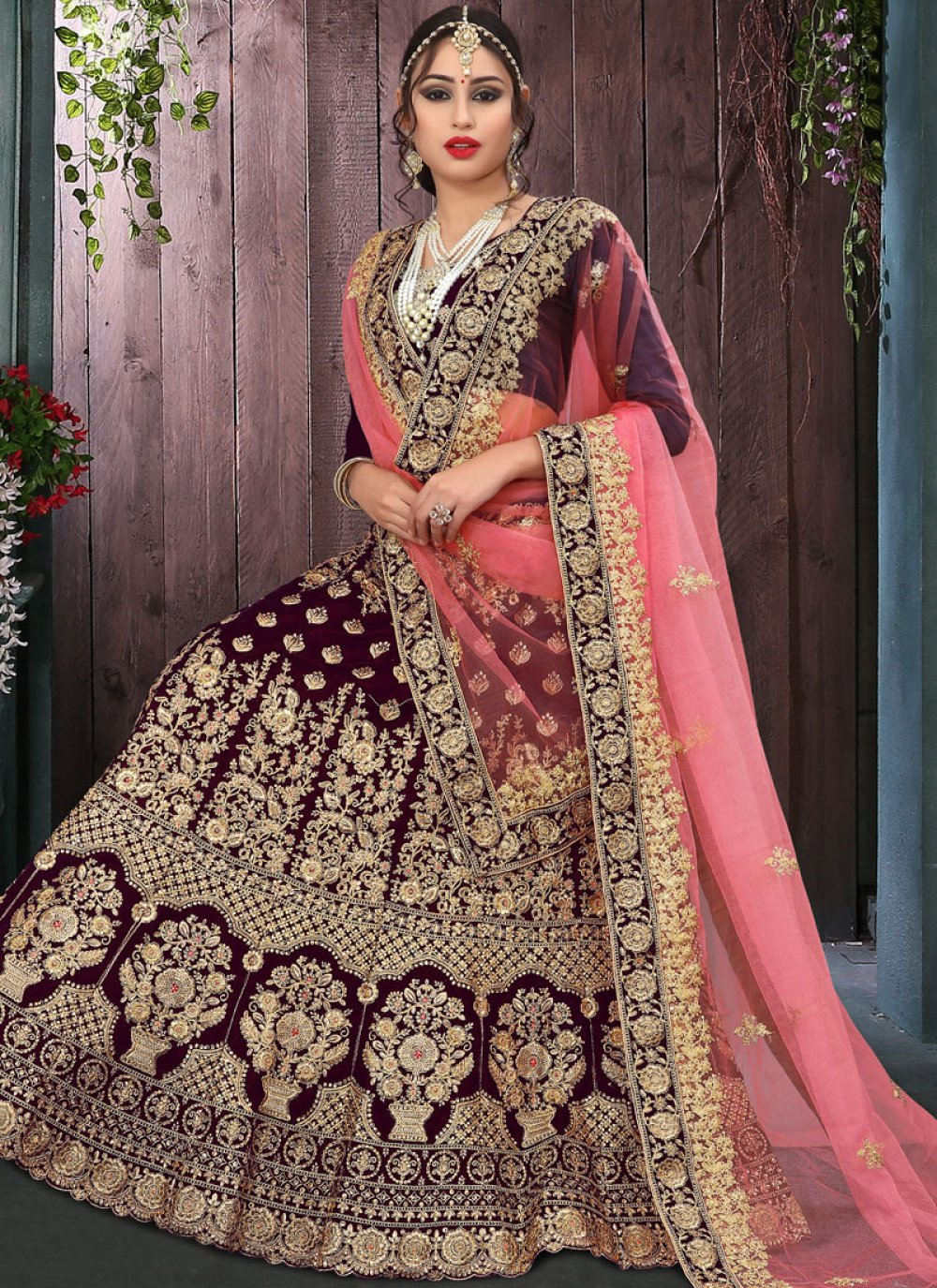 Velvet Designer Lehenga Choli in Wine