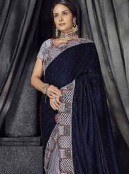 Velvet Embroidered Blue and Grey Designer Half N Half Saree