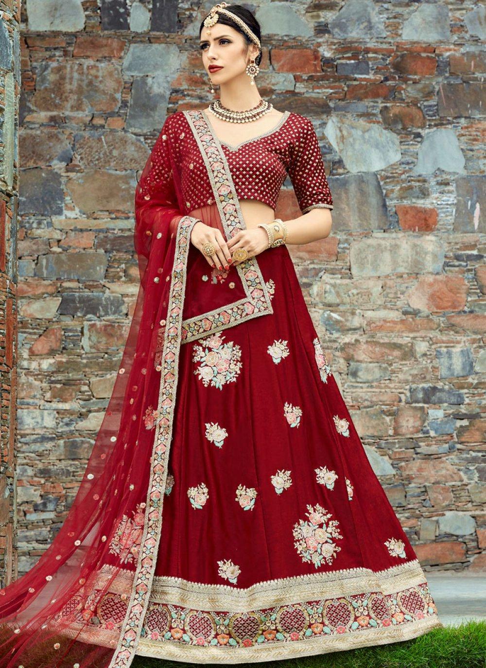 Velvet Embroidered Work Lehenga Choli