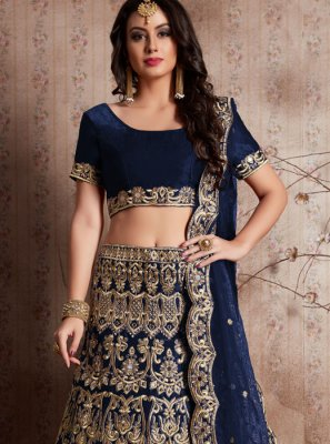 Velvet Embroidered Work Lehenga Choli