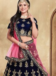 Velvet Lehenga Choli in Blue