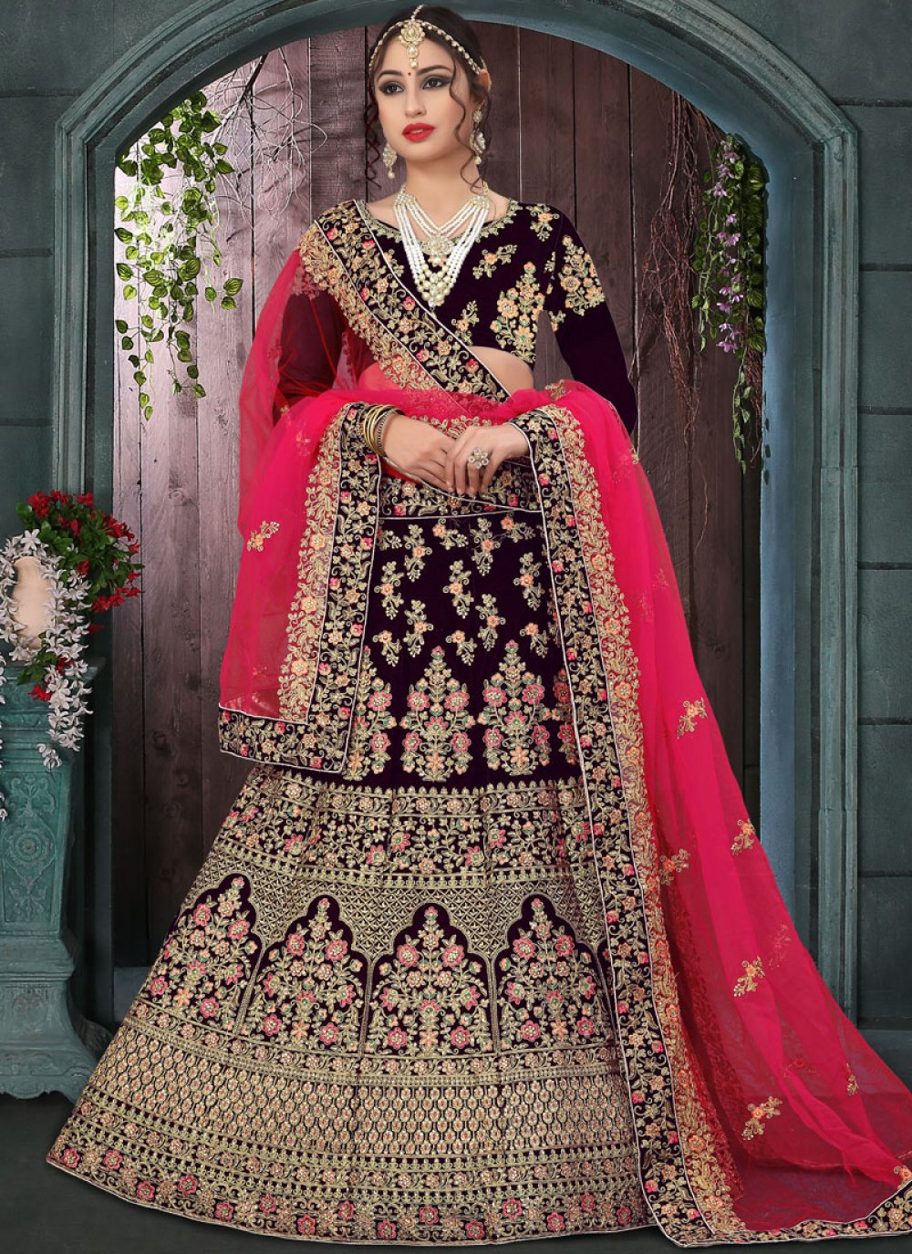 Velvet Mehndi Designer Lehenga Choli