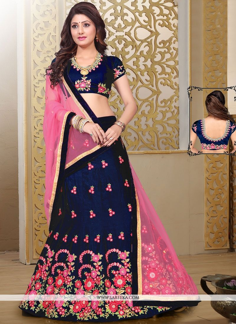 Velvet Navy Blue and Pink Designer Lehenga Choli