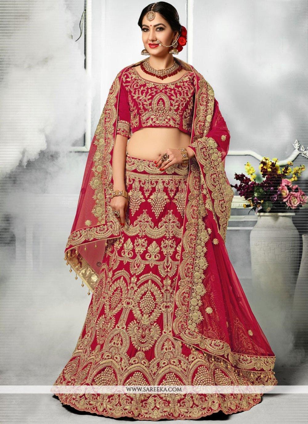 Velvet Red A Line Lehenga Choli