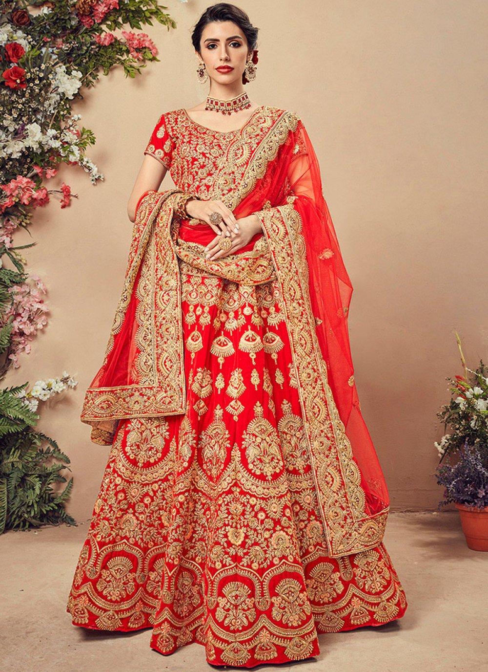 Velvet Red Embroidered Designer Lehenga Choli