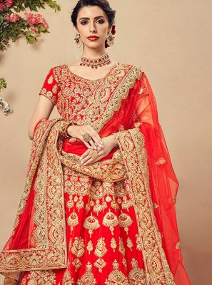 Velvet Red Embroidered Designer Lehenga Choli