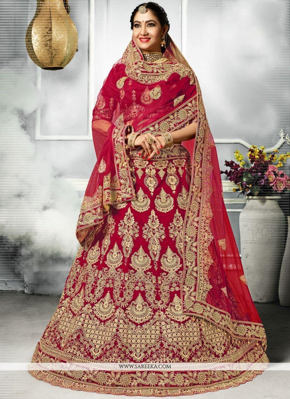 Velvet Red Embroidered Work A Line Lehenga Choli