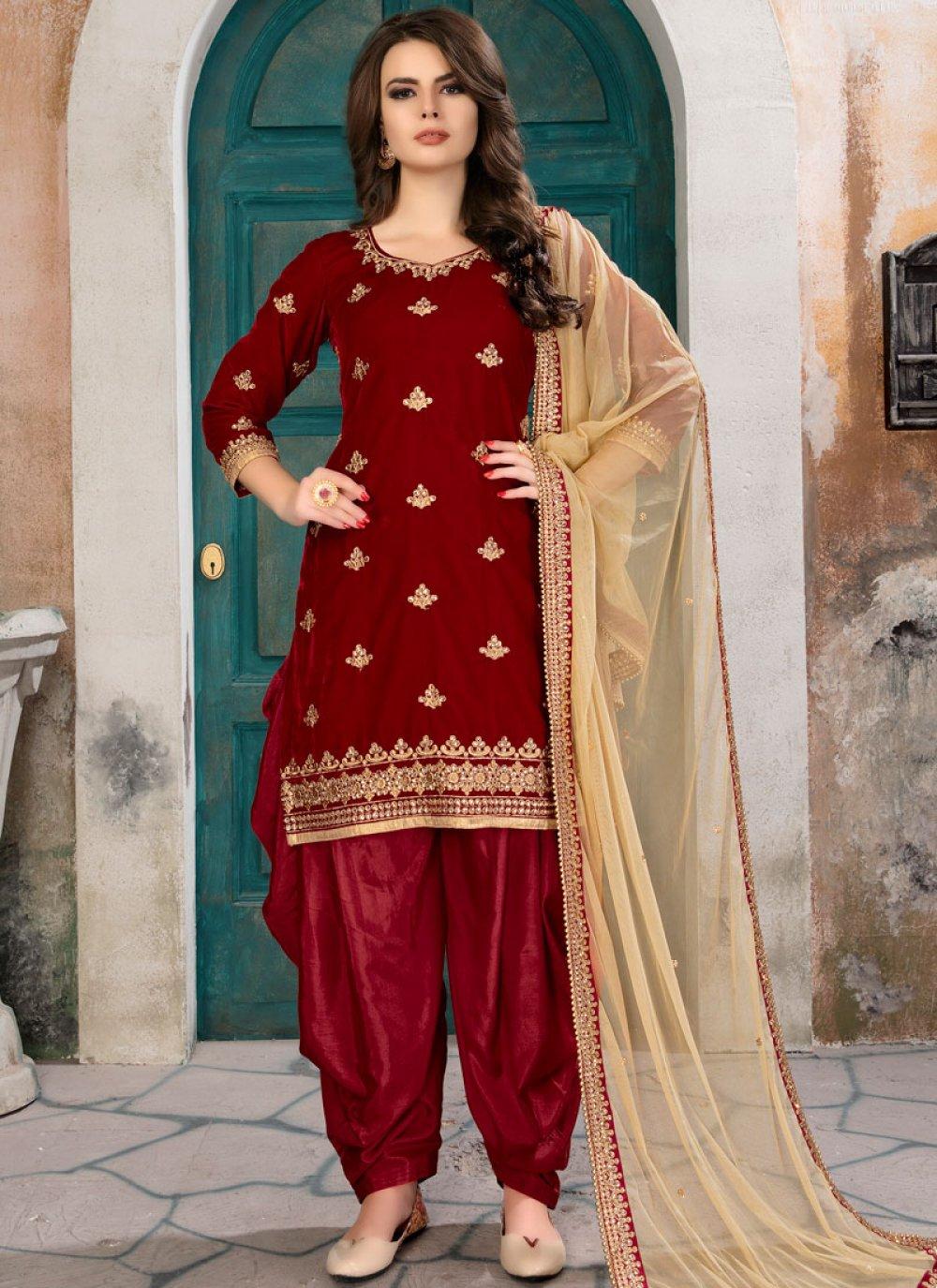 Velvet Red Punjabi Suit