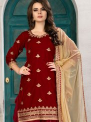 Velvet Red Punjabi Suit