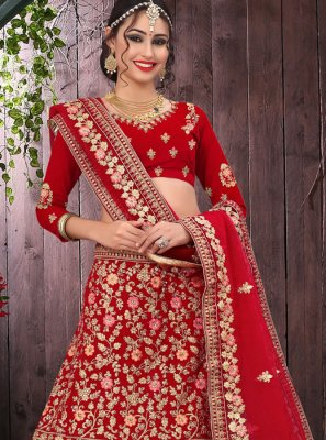 Velvet Red Trendy Lehenga Choli
