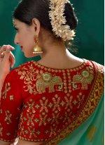 Viscose Aqua Blue and Green Designer Traditional Saree