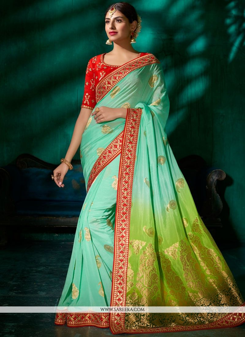 Viscose Aqua Blue and Green Designer Traditional Saree