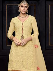 Viscose Embroidered Designer Palazzo Salwar Kameez in Cream