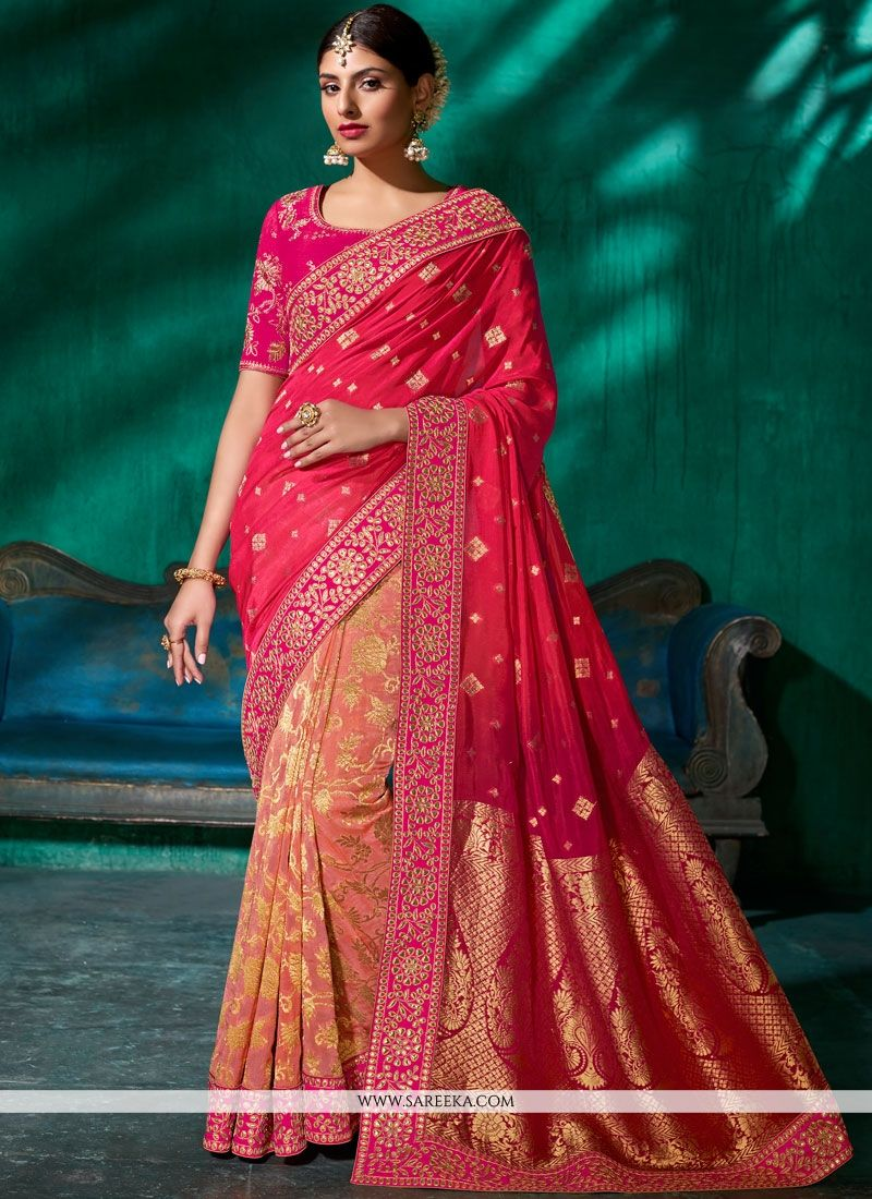 Viscose Embroidered Work Designer Traditional Saree