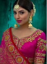 Viscose Hot Pink Resham Work Designer Traditional Saree