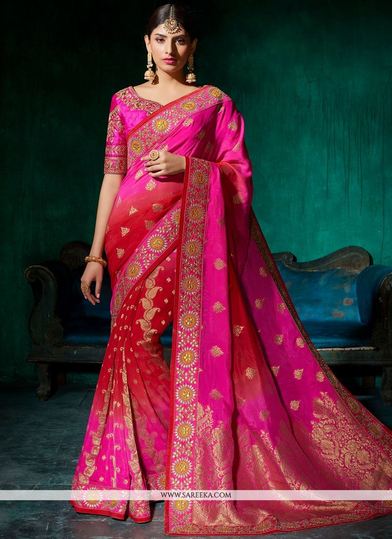 Viscose Hot Pink Resham Work Designer Traditional Saree