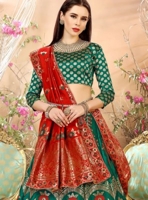 Weaving Art Silk Lehenga Choli in Green