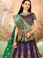 Weaving Art Silk Lehenga Choli in Navy Blue