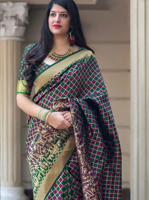 Weaving Art Silk Multi Colour Traditional Designer Saree