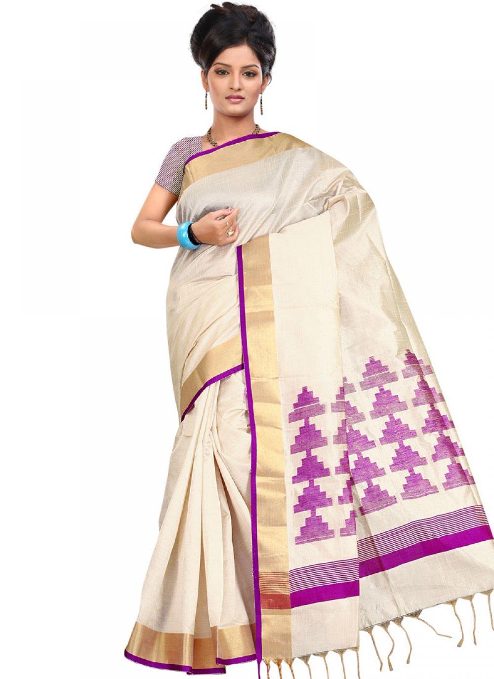 Weaving Art Silk Traditional  Saree in Cream