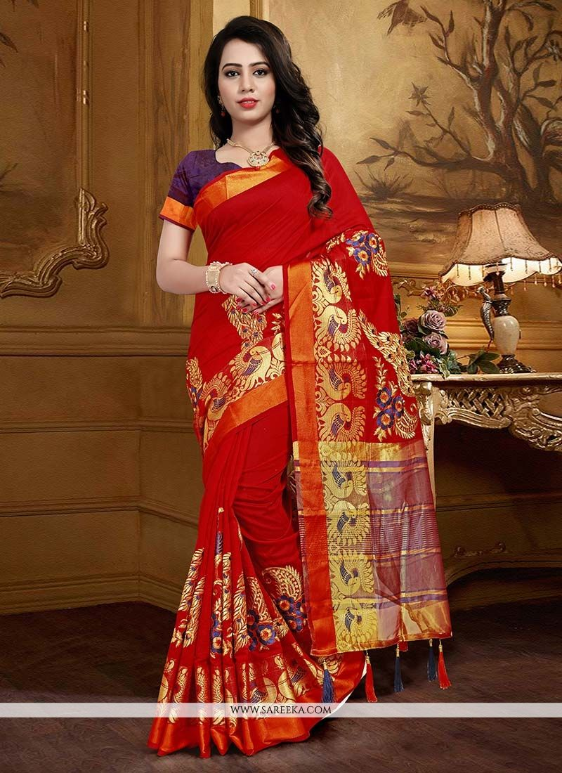 Weaving Art Silk Traditional  Saree in Maroon