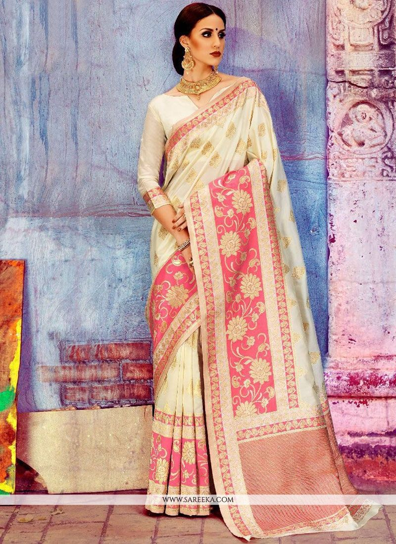 Weaving Art Silk Traditional  Saree in White