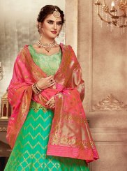 Weaving Banarasi Silk Green Lehenga Choli