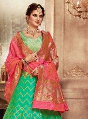 Weaving Banarasi Silk Green Lehenga Choli