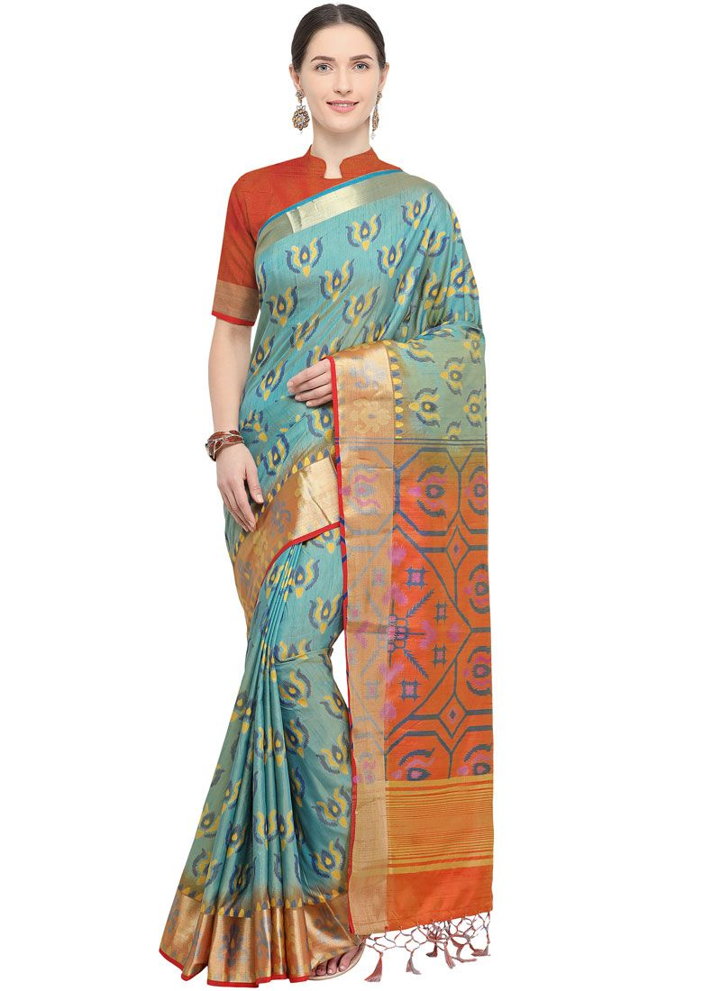 Weaving Blue Art Silk Traditional Saree