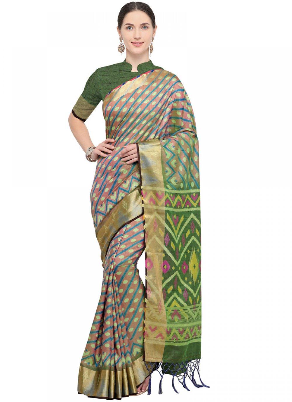 Weaving Green and Grey Art Silk Traditional Saree