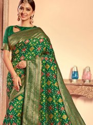 Weaving Green Traditional Designer Saree