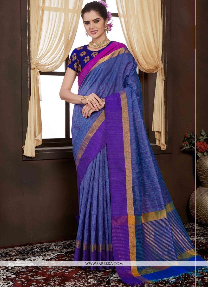Weaving Handloom silk Traditional  Saree in Blue