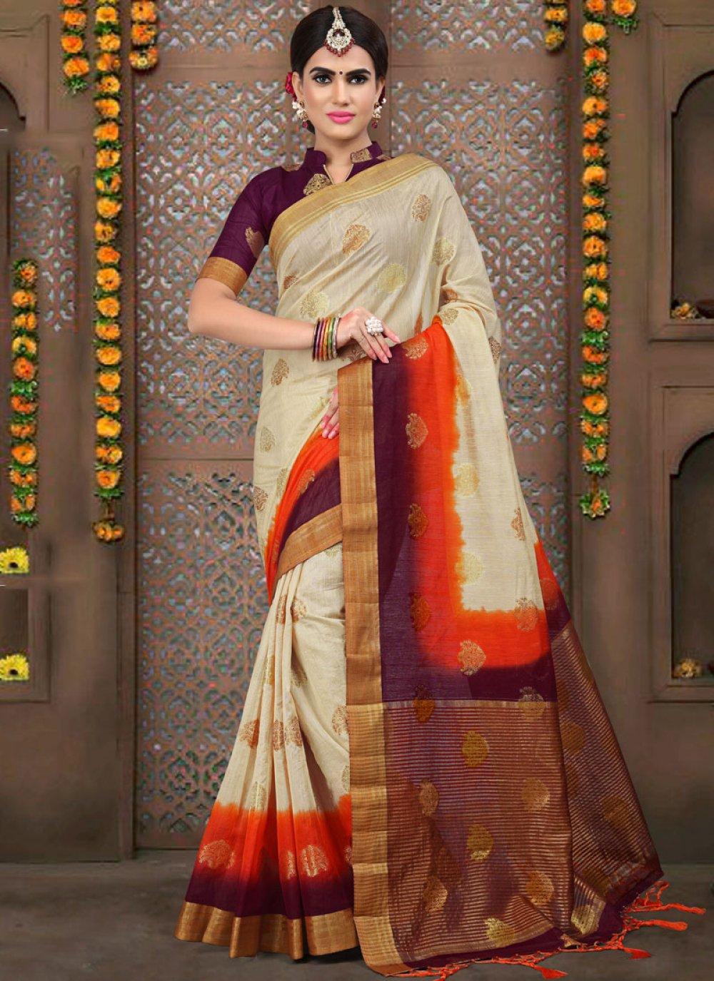 Weaving Linen Traditional Designer Saree