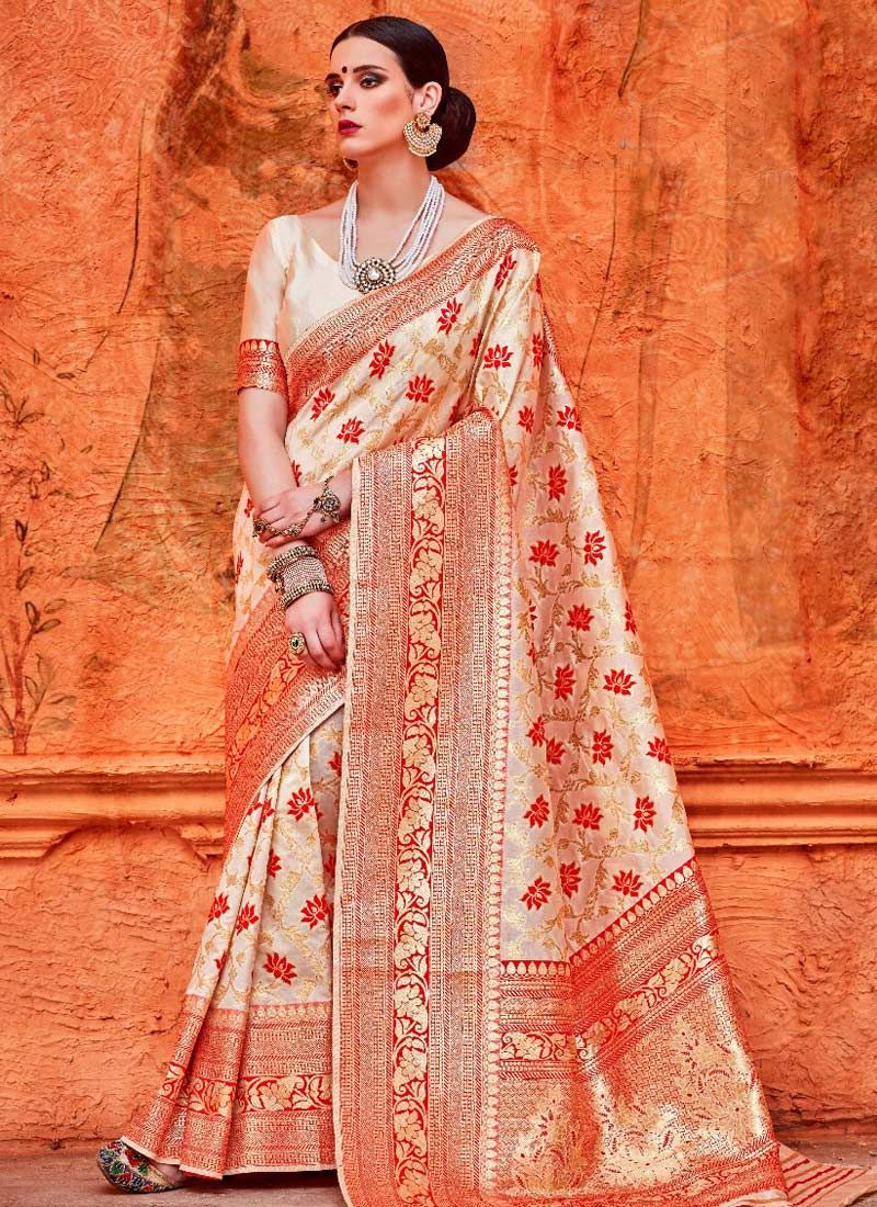 Weaving Off White Classic Saree