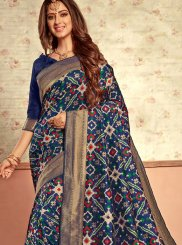 Weaving Patola Silk  Traditional Designer Saree in Blue