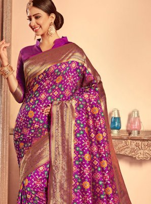 Weaving Purple Patola Silk  Designer Traditional Saree