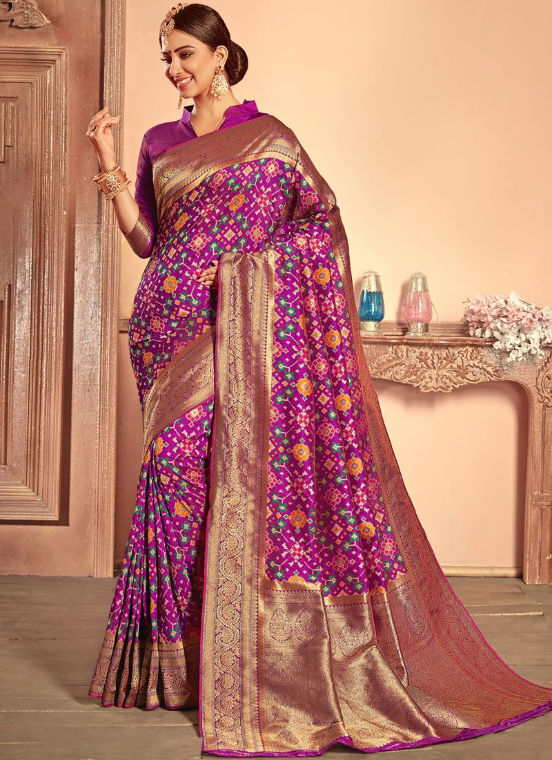 a32dfed9856895 Buy Weaving Purple Patola Silk Designer Traditional Saree   92226 -