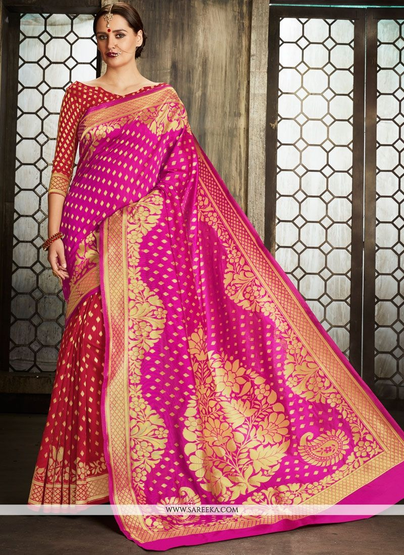Weaving Work Art Silk Half N Half Designer Saree