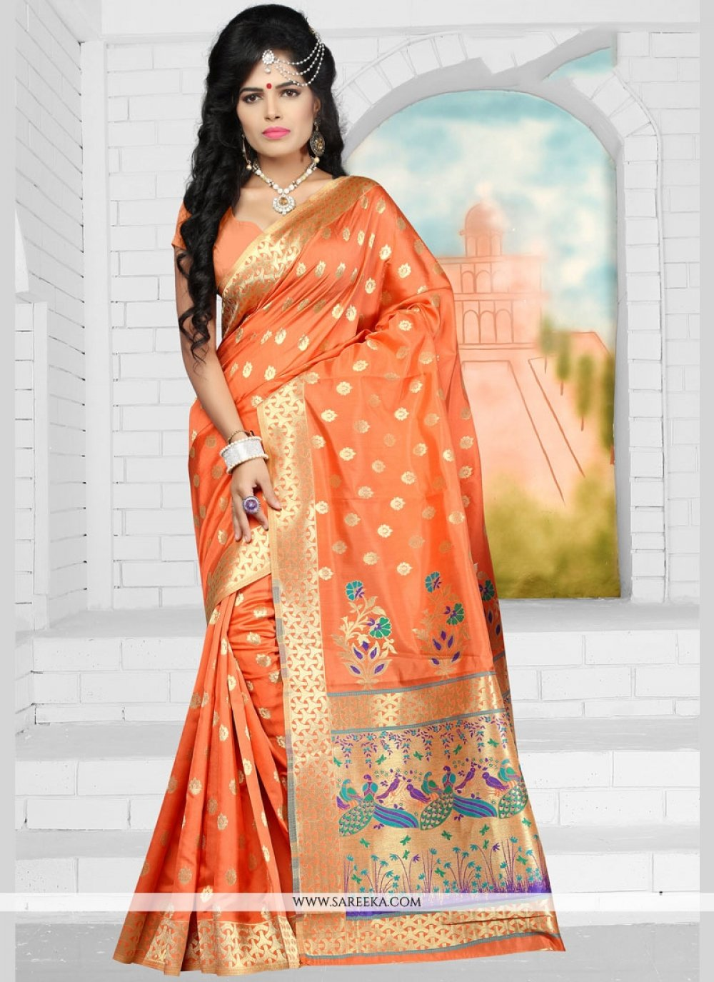 Weaving Work Art Silk Traditional Designer Saree