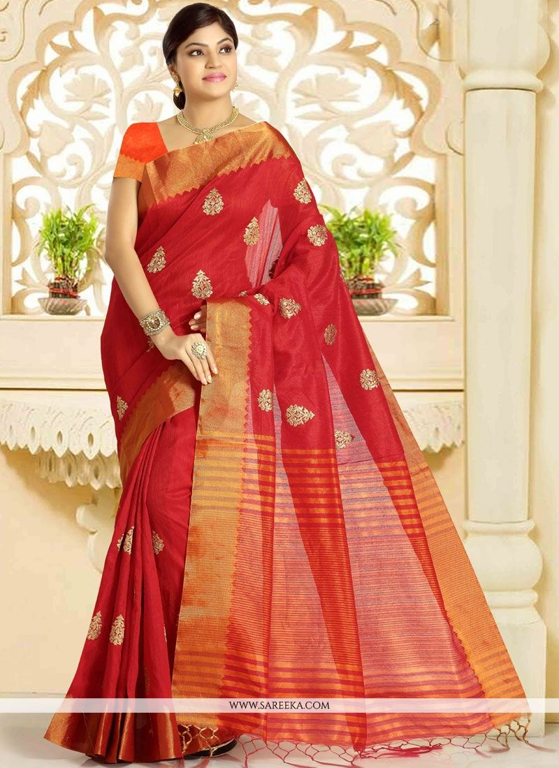 Weaving Work Art Silk Traditional  Saree