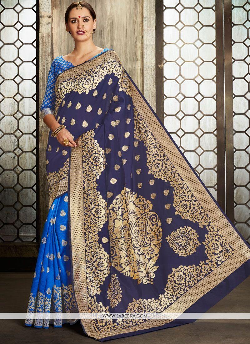 Weaving Work Blue and Navy Blue Art Silk Half N Half  Saree