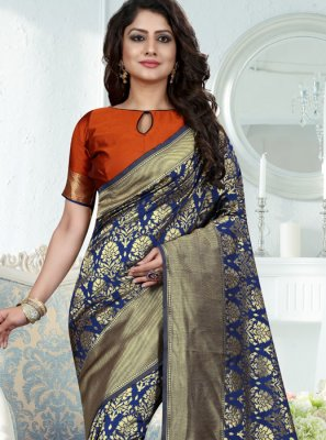 Weaving Work Blue Traditional Designer Saree