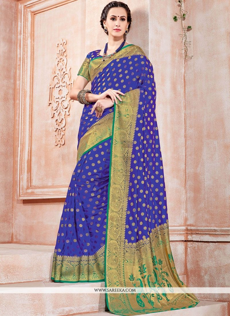 Weaving Work Blue Tussar Silk Traditional Designer Saree