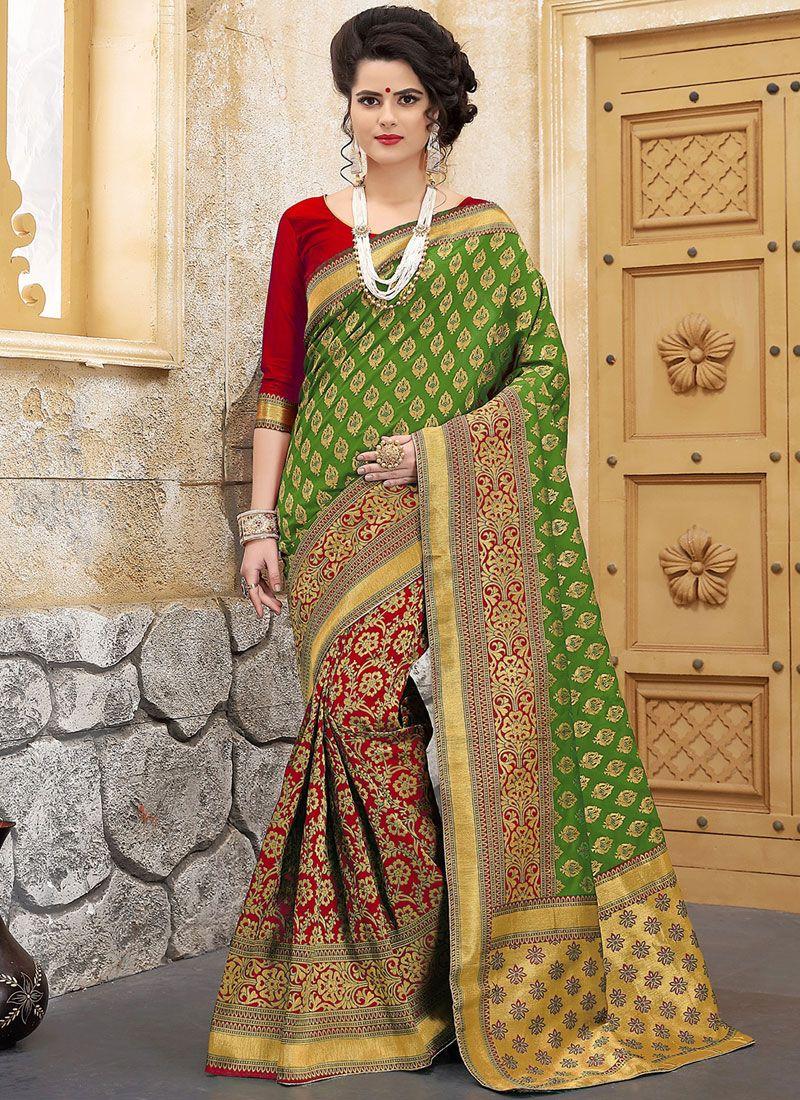 Weaving Work Green and Red Designer Half N Half Saree