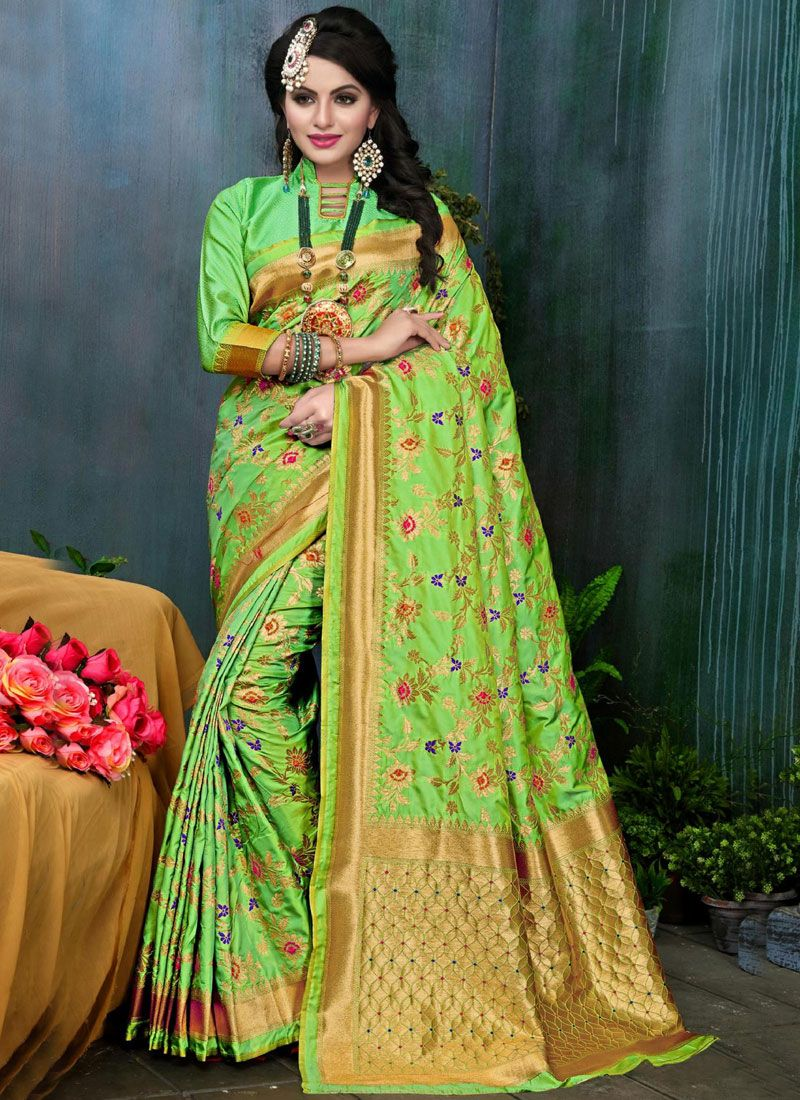 Weaving Work Green Designer Traditional Saree