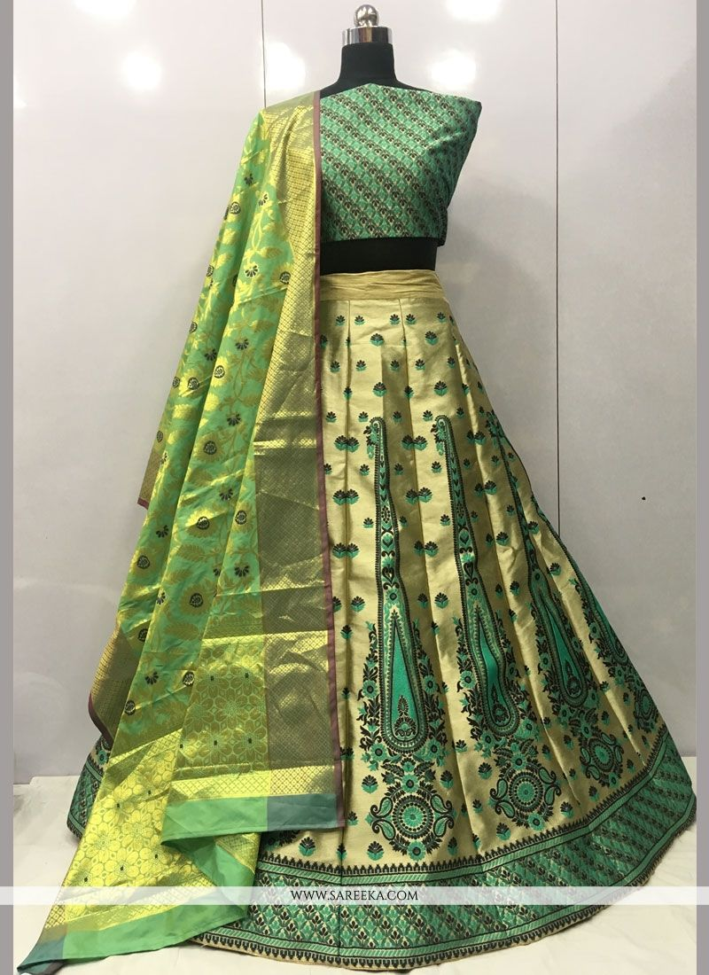 Weaving Work Green Lehenga Choli
