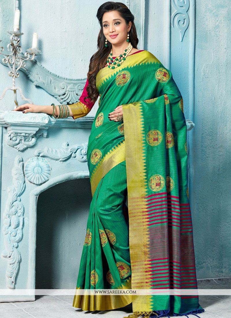 Weaving Work Green Traditional  Saree