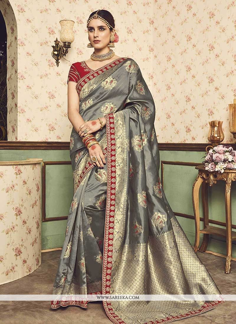 Weaving Work Grey Designer Traditional Saree