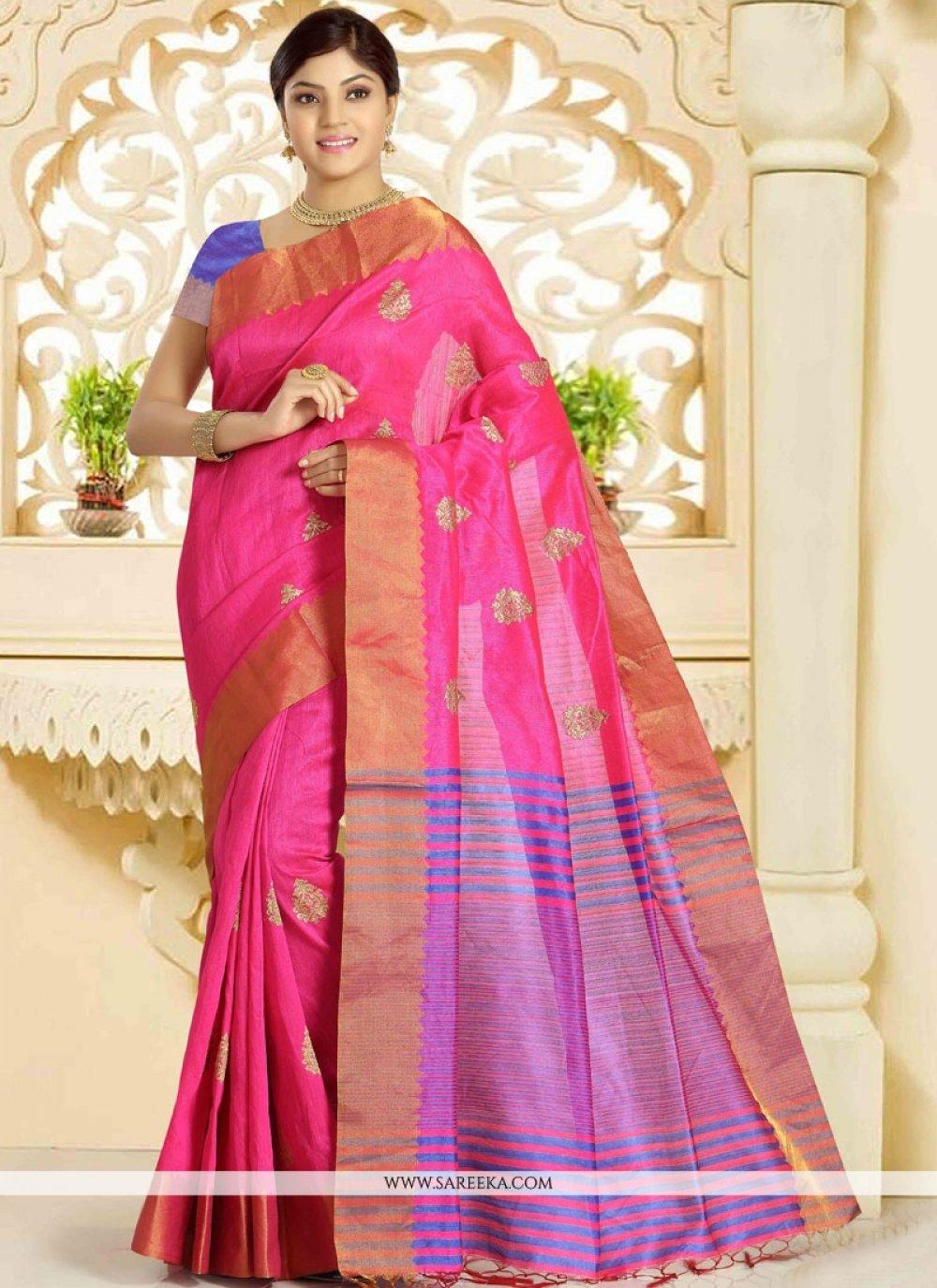 Weaving Work Hot Pink Traditional  Saree
